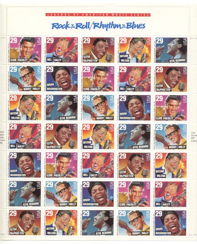 Scott 2724 through 2730 Rock Roll and Rhythm Blues 29 Cents Stamps Full Sheet