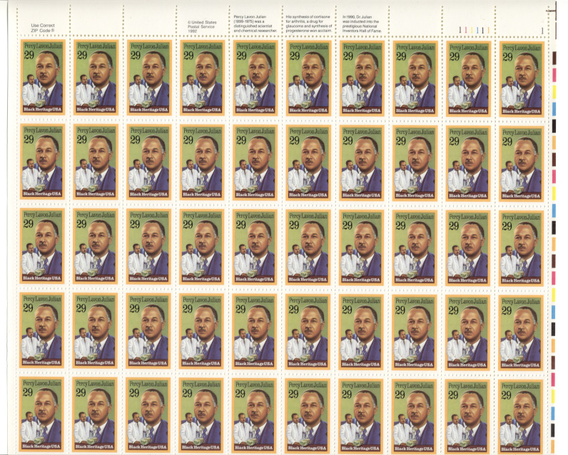 Scott 2746 Percy Lavon Julian 29 Cents Stamps Full Sheet
