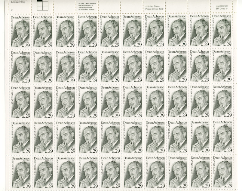 Scott 2755 Dean Acheson 29 Cents Stamps Full Sheet