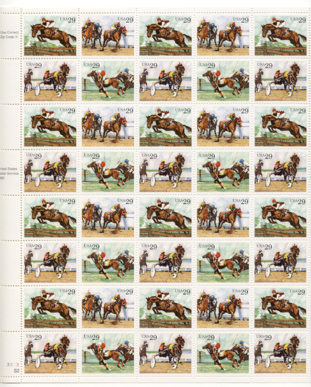 Scott 2756 through 2759 Horse Racing 29 Cents Stamps Full Sheet
