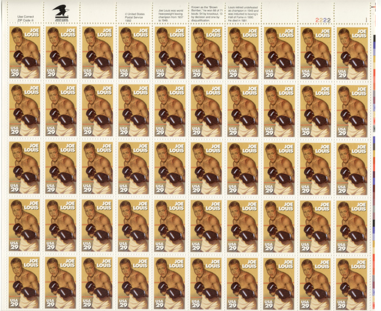 Scott 2766 Joe Louis 29 Cents Stamps Full Sheet