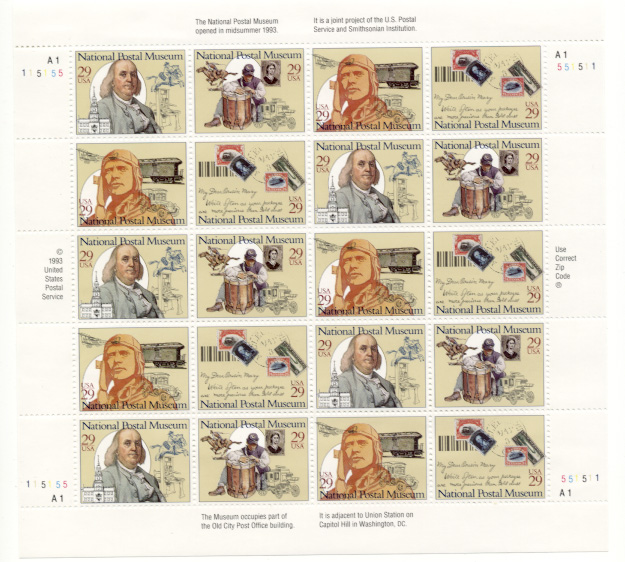 Scott 2779 through 2782 Postal Museum 29 Cents Stamps Full Sheet