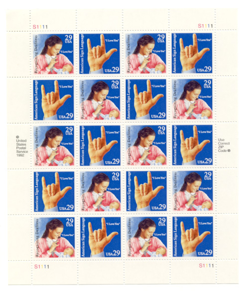 Scott 2783 through 2784 Sign Language 29 Cents Stamps Full Sheet