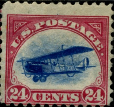 Scott C3 Carmine and Blue Jenny Biplane 24 Cent Airmail Stamp