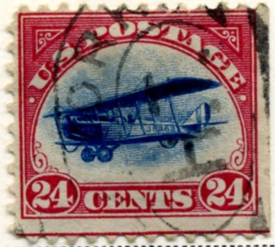Scott C3 Carmine and Blue Jenny Biplane 24 Cent Airmail Stamp a