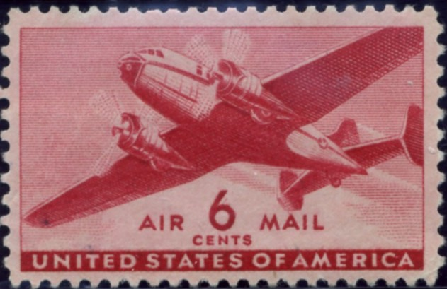 Scott C25 Carmine Transport Plane 6 Cent Airmail Stamp