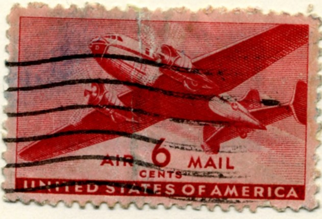 Scott C25 Carmine Transport Plane 6 Cent Airmail Stamp a