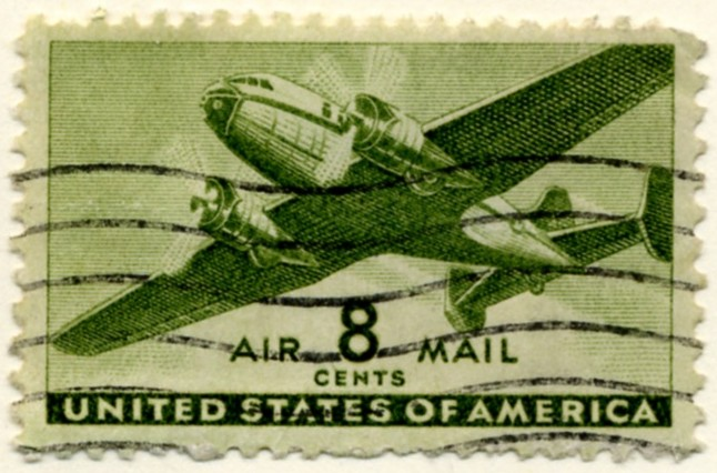 Scott C26 Olive Green Transport Plane 8 Cent Airmail Stamp a
