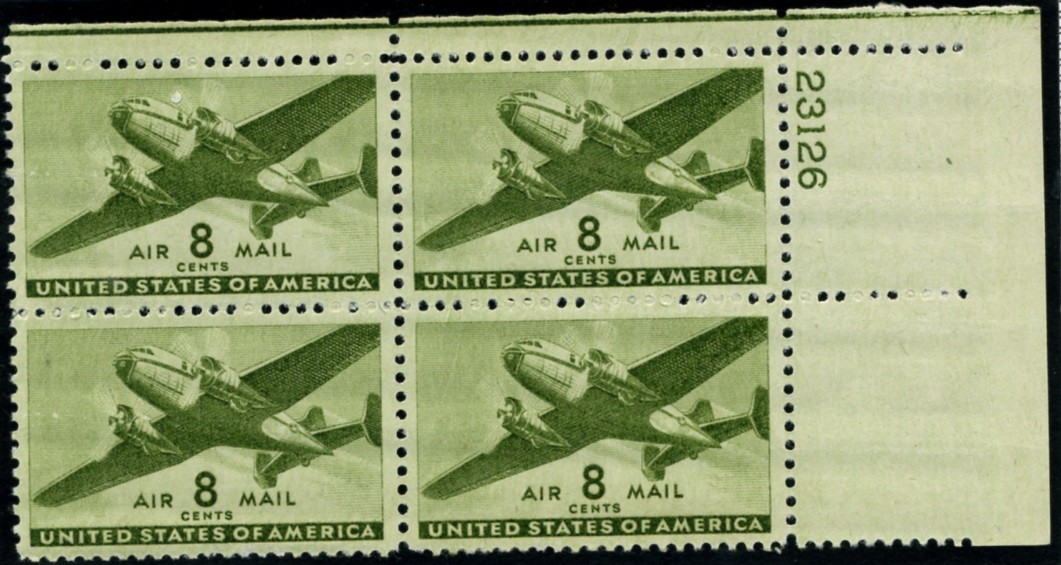 Scott C26 Olive Green Transport Plane 8 Cent Airmail Stamp Plate Block