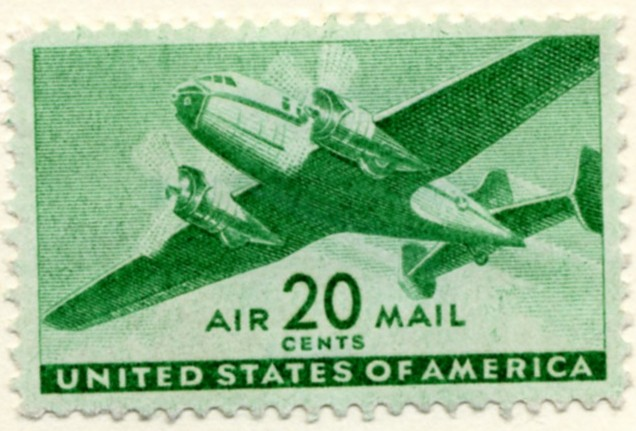 Scott C29 Bright Green Transport Plane 20 Cent Airmail Stamp a