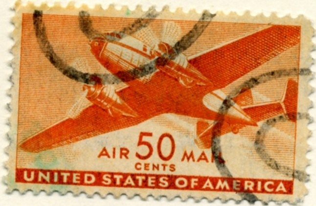 Scott C31 Orange Transport Plane 50 Cent Airmail Stamp a