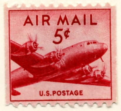 Scott C37 DC-4 Skymaster Small 5 Cent Airmail Coil Stamp a