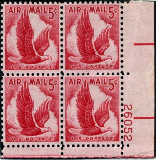 Scott C50 Eagle In Flight 5 Cent Airmail Stamp Plate Block