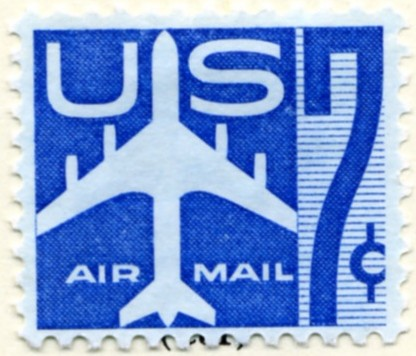 Scott C51 Jetliner Silhouette Blue 7 Cent Airmail Stamp a