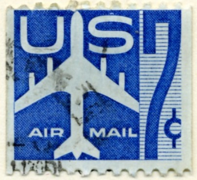 Scott C52 Jetliner Silhouette Blue 7 Cent Airmail Coil Stamp a