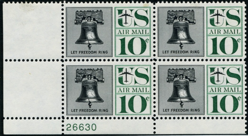 Scott C57 Liberty Bell 10 Cent Airmail Stamp Plate Block