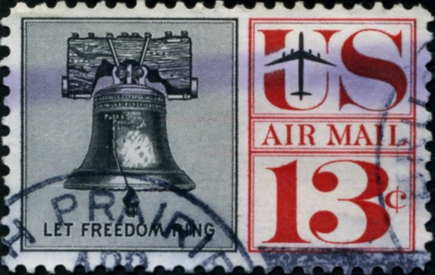Scott C62 Liberty Bell 13 Cent Airmail Stamp