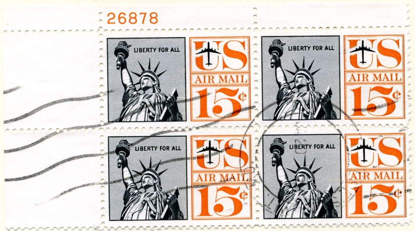 Scott C63 Statue of Liberty 15 Cent Airmail Stamp Plate Block a