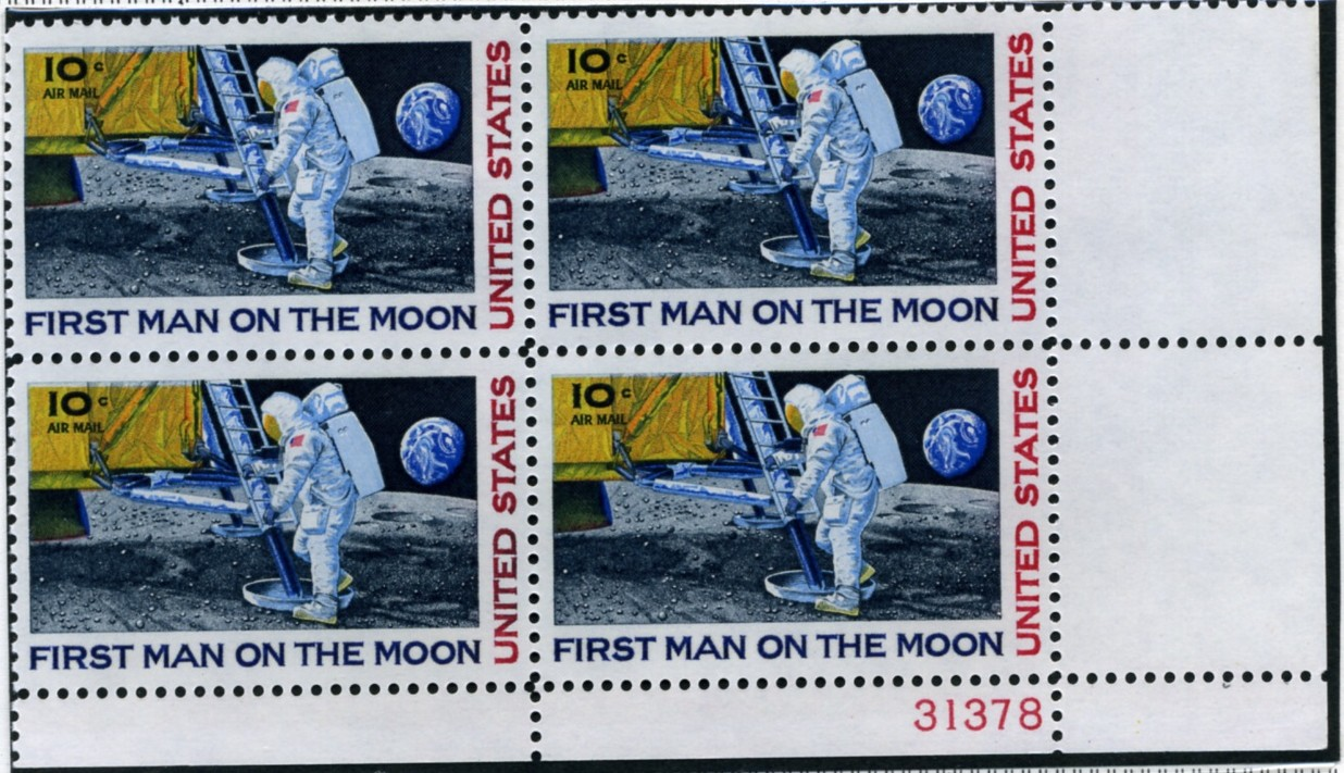Scott C76 First Man On The Moon 10 Cent Airmail Stamp Plate Block