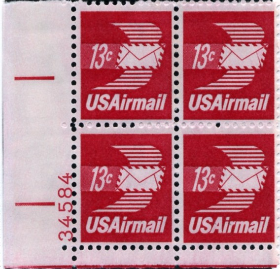 Scott C79 Winged Letter 13 Cent Airmail Stamp Plate Block