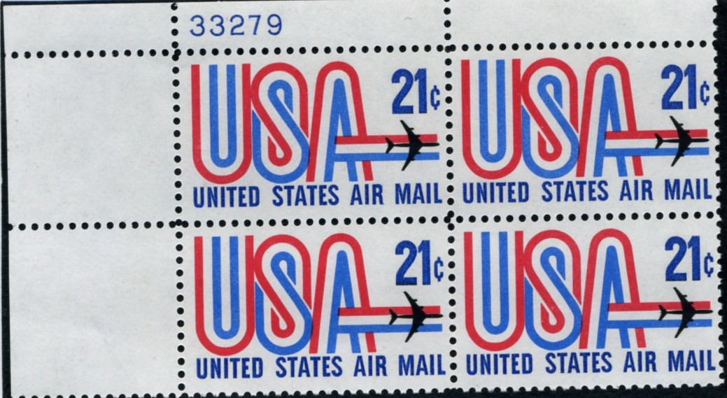 Scott C81 USA and Jet 21 Cent Airmail Stamp Plate Block