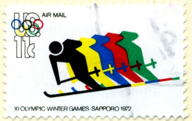 Scott C85 Winter Olympic Skiers 11 Cent Airmail Stamp a