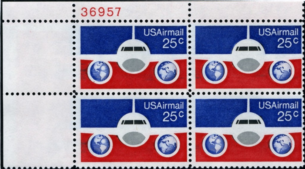 Scott C89 Jetliner and Globes 25 Cent Airmail Stamp Plate Block