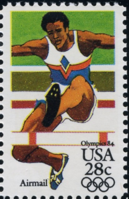 Scott C102 Summer Olympics Hurdles 28 Cent Airmail Stamp