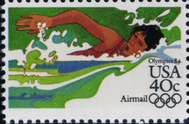Scott C107 Summer Olympics Swimming 40 Cent Airmail Stamp