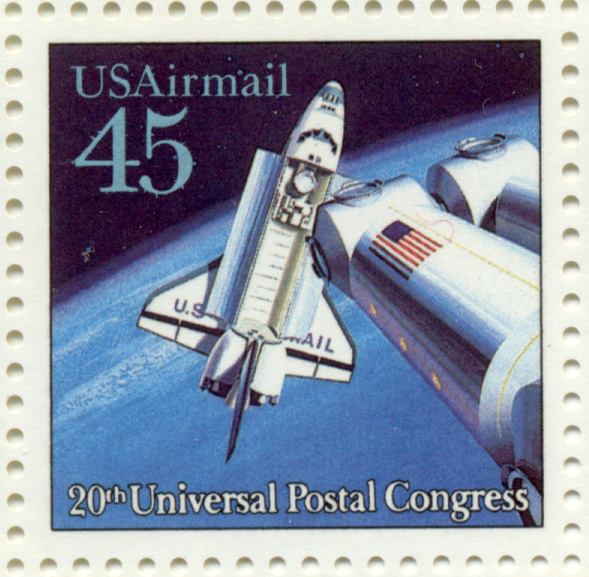 Scott C125 Space Travel Shuttle Docking 45 Cent Airmail Stamp