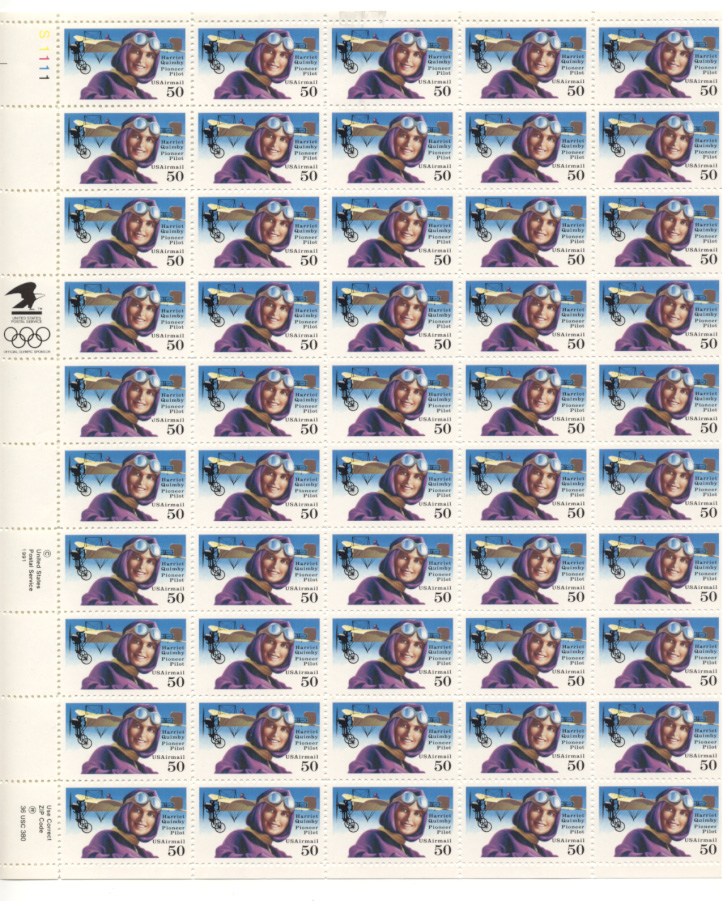 Scott C128 Harriet Quimby 50 Cents Airmail Stamps Full Sheet