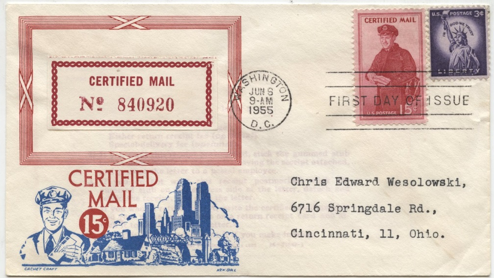 Scott FA1 15 Cent Certified Mail Stamp Letter Carrier First Day Cover