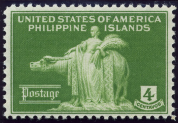 Scott PIPS384 Philippines 4 Centavos Stamp Woman and Carabao