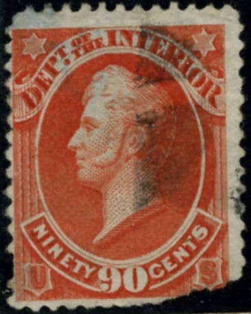 Scott O24 90 Cent Official Stamp Department of the Interior