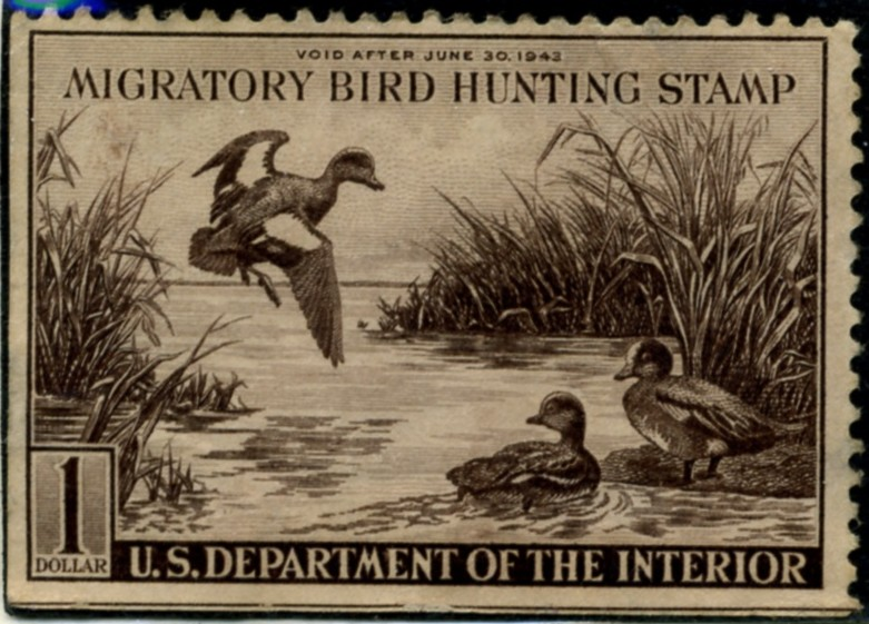 Scott RW9 1 Dollar Department of the Interior Duck Stamp Widgeon