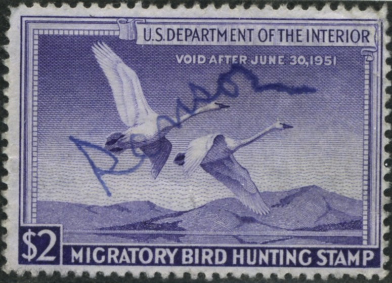Scott RW17 2 Dollar Department of the Interior Duck Stamp Trumpeter Swans