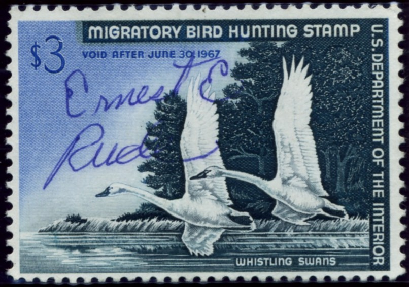 Scott RW33 3 Dollar Department of the Interior Duck Stamp Whistling Swans