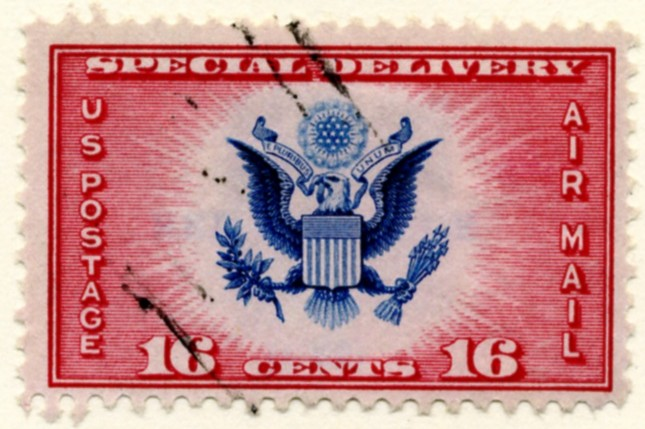 Scott CE2 16 Cent Special Delivery Air Mail Stamp Great Seal