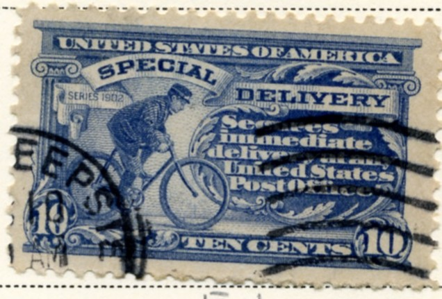 Scott E11 10 Cent Special Delivery Stamp Bicycle Messenger