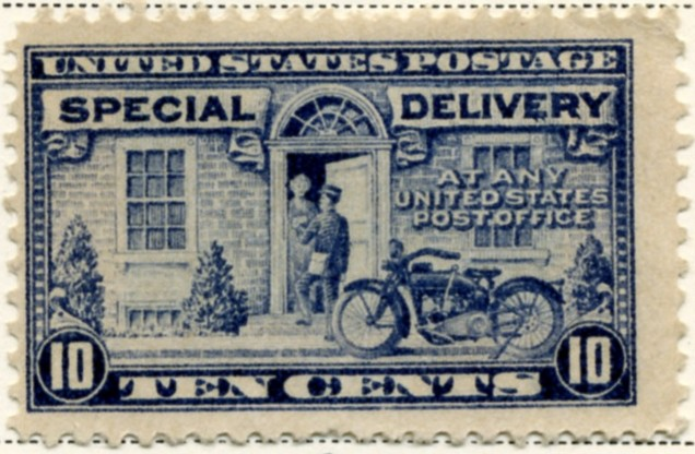Scott E12 10 Cent Special Delivery Stamp Motorcycle Messenger b