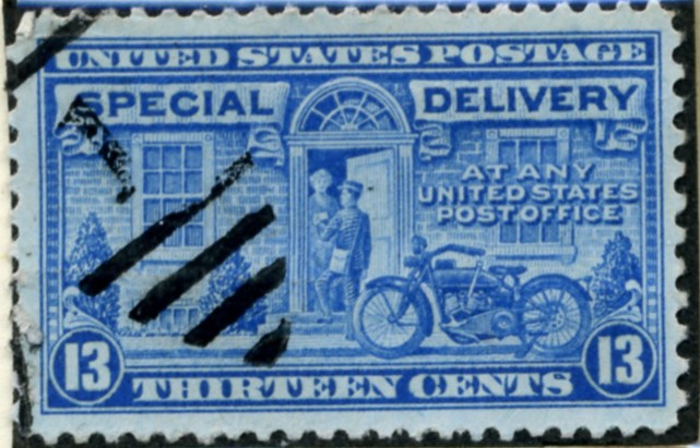 Scott E17 13 Cent Special Delivery Stamp Motorcycle Messenger a