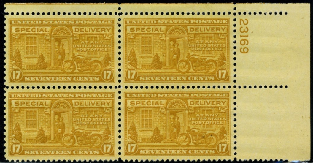 Scott E18 17 Cent Special Delivery Stamp Motorcycle Messenger Plate Block