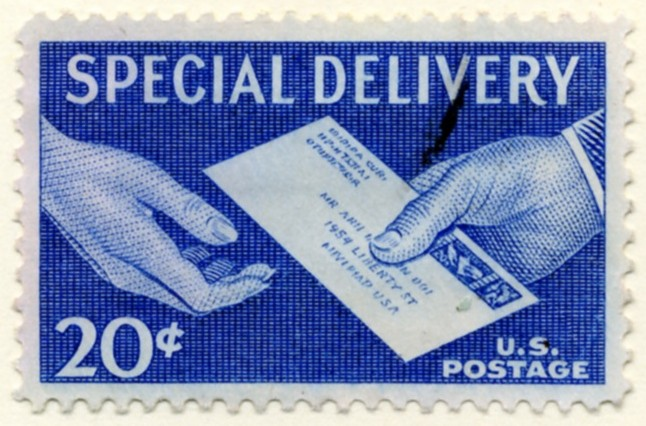 Scott E20 20 Cent Special Delivery Stamp Handing Letter