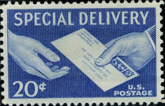 Scott E20 20 Cent Special Delivery Stamp Handing Letter b