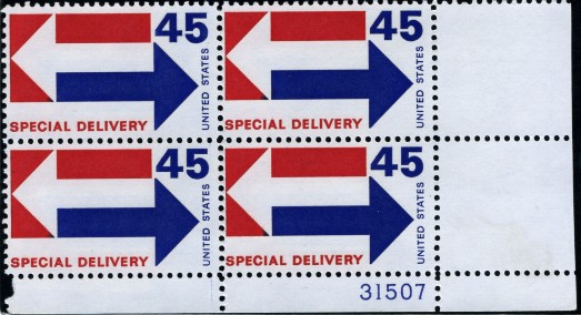 Scott E22 45 Cent Special Delivery Stamp Arrows Plate Block