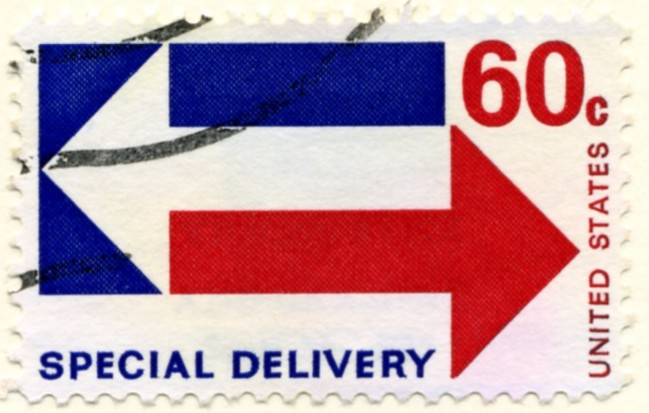 Scott E23 60 Cent Special Delivery Stamp Arrows