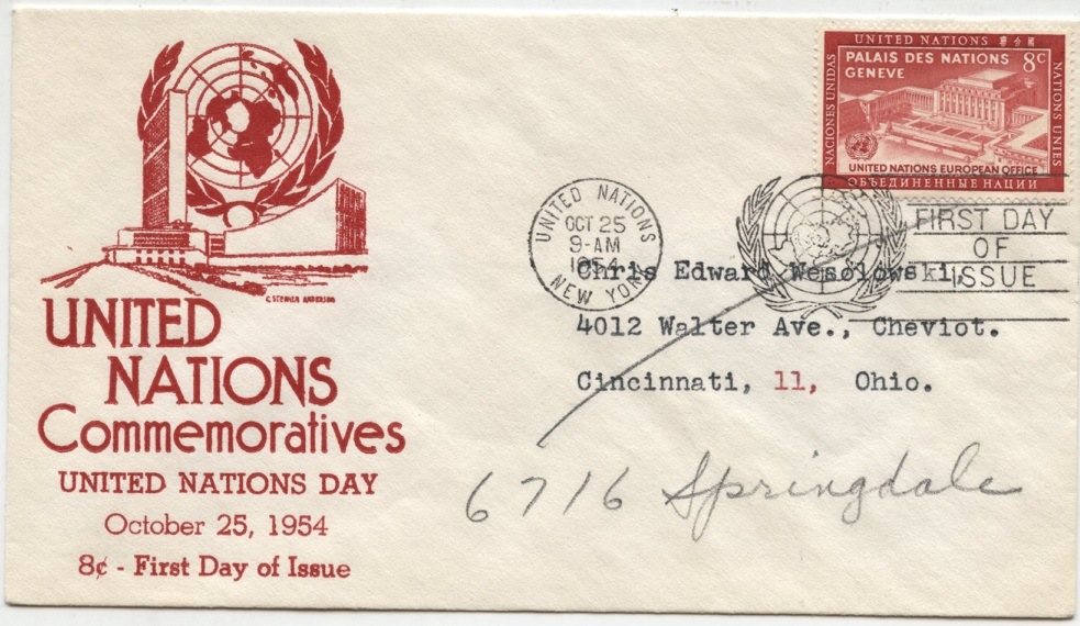 Scott 28 8 Cent United Nations European Office Stamp First Day Cover #a
