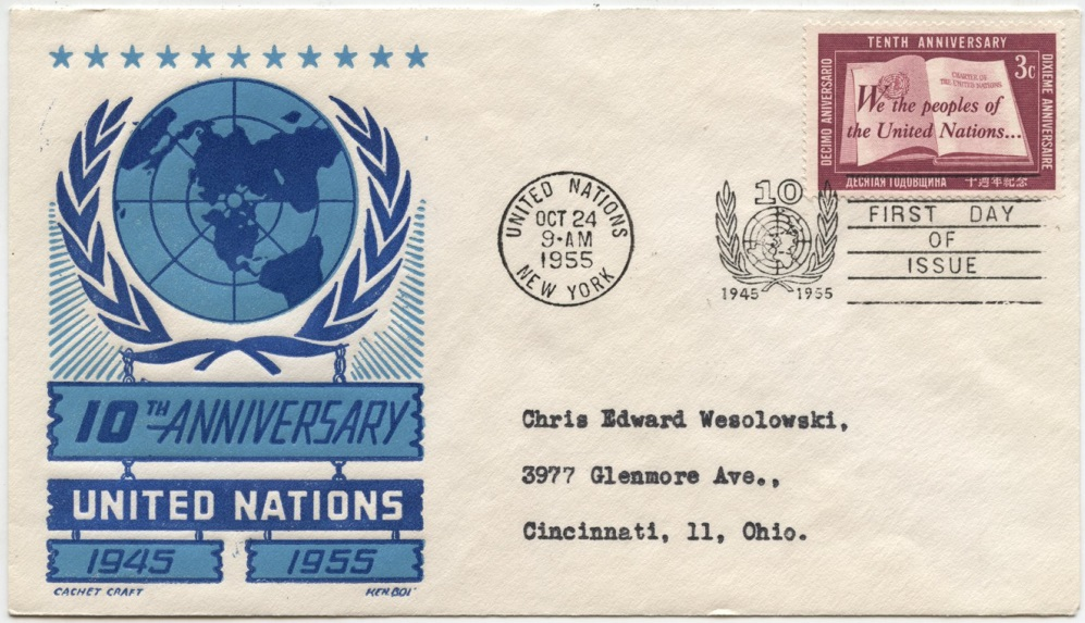 Scott 35 3 Cent United Nations 10th Anniversary Stamp First Day Cover