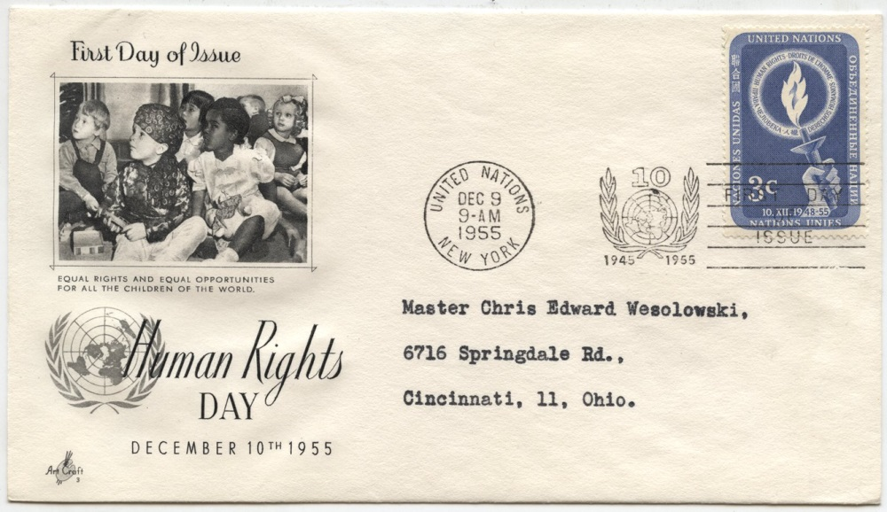 Scott 39 3 Cent United Nations Human Rights Day Stamp First Day Cover