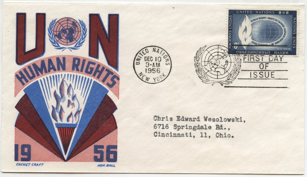 Scott 48 8 Cent United Nations Human Rights Stamp First Day Cover